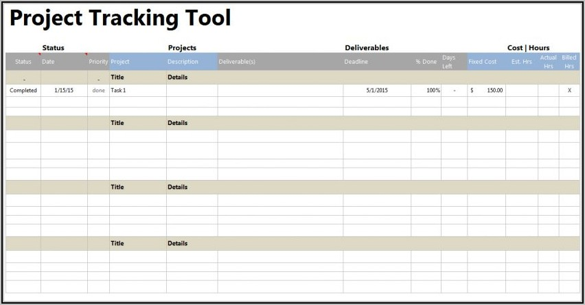 Project Time Tracking Spreadsheet Template