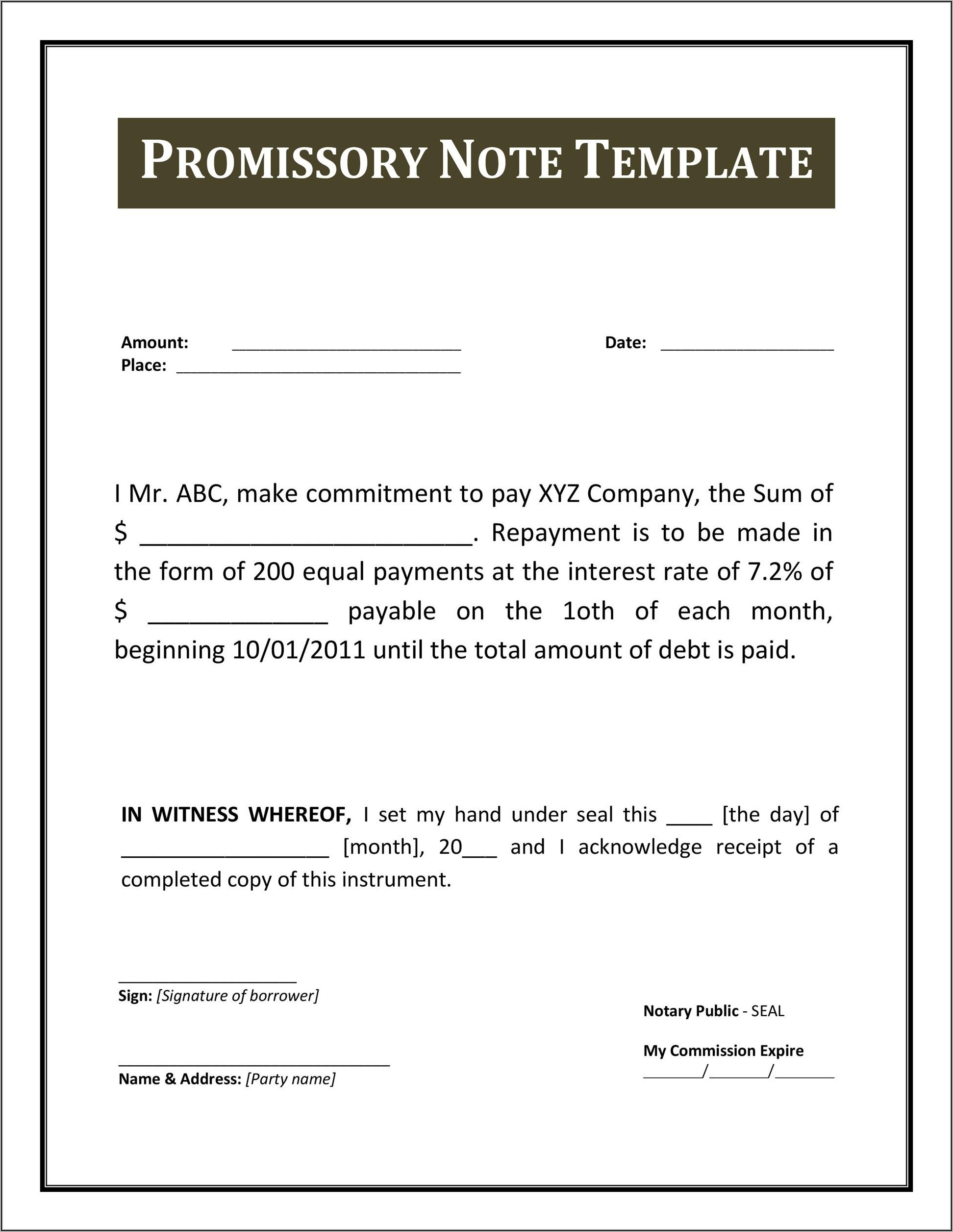 Promissory Note Template Word 2007
