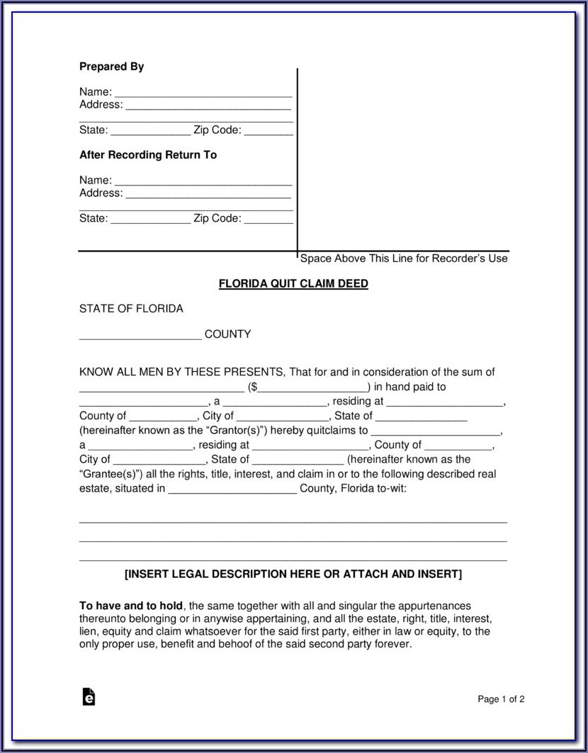 Quit Claim Deed Florida Form How To Fill Out