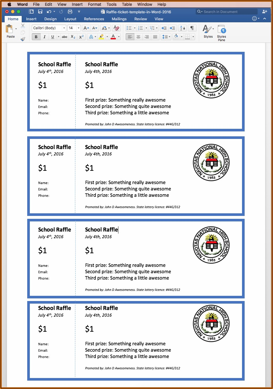 Raffle Tickets Template Free In Word