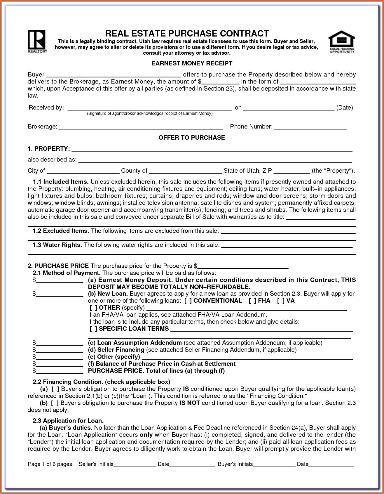 Real Estate Sales Agreement Form Pennsylvania