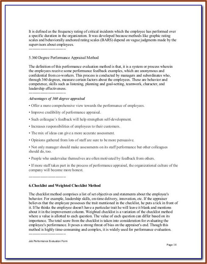 Receptionist Evaluation Form