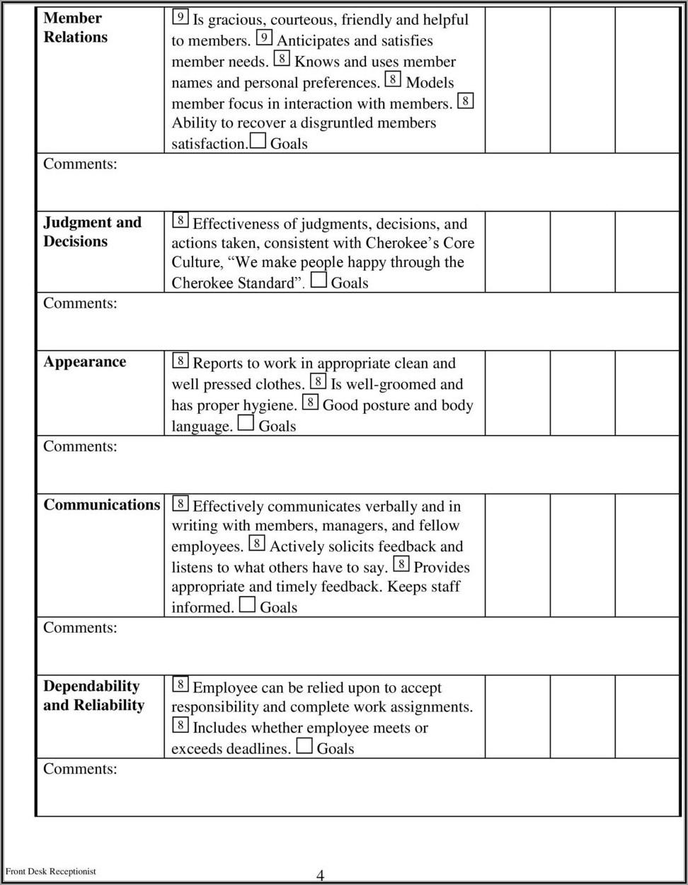 Receptionist Job Evaluation Form