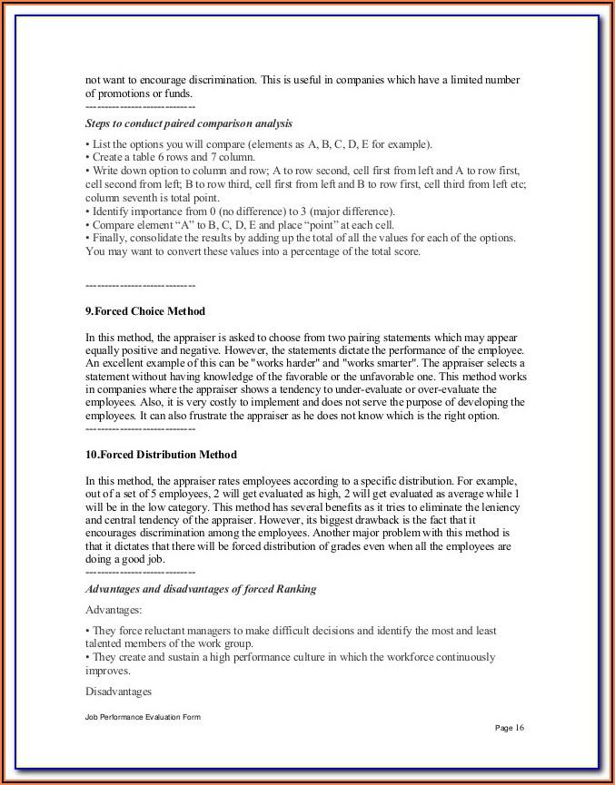 Receptionist Self Evaluation Form