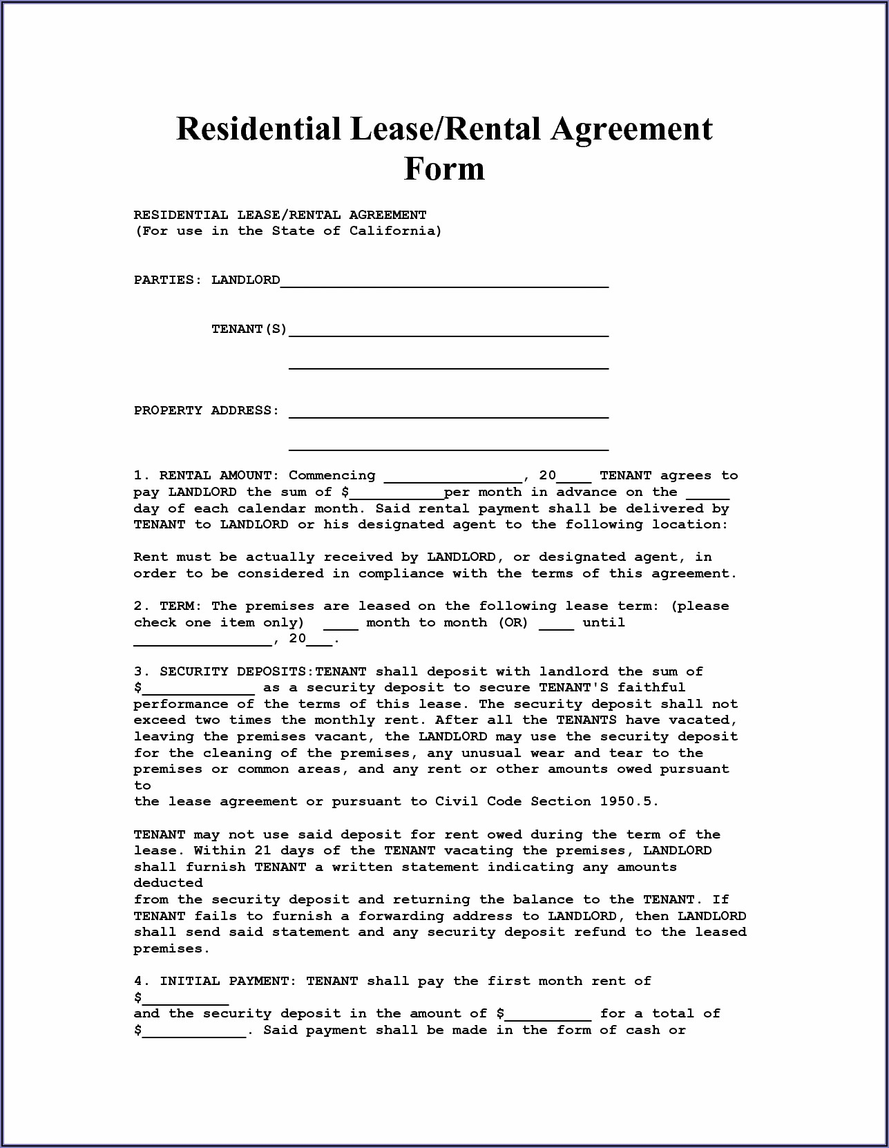 Rental Agreement Form Free Printable