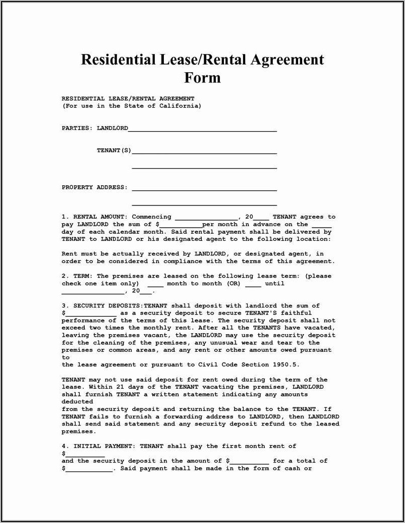 Rental Lease Agreement Word Document