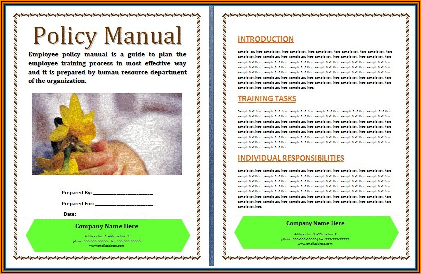 Restaurant Policy And Procedure Manual Template Free