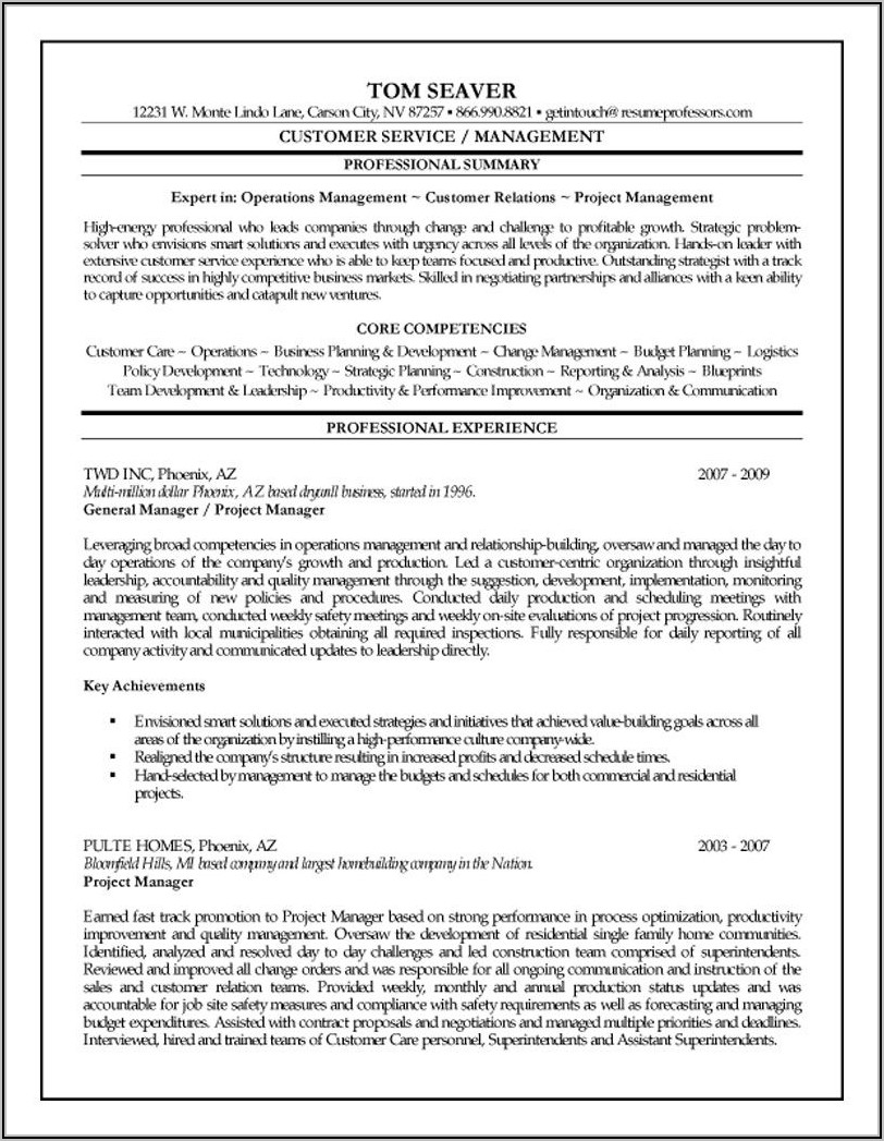 Resume Samples For Project Managers In Construction
