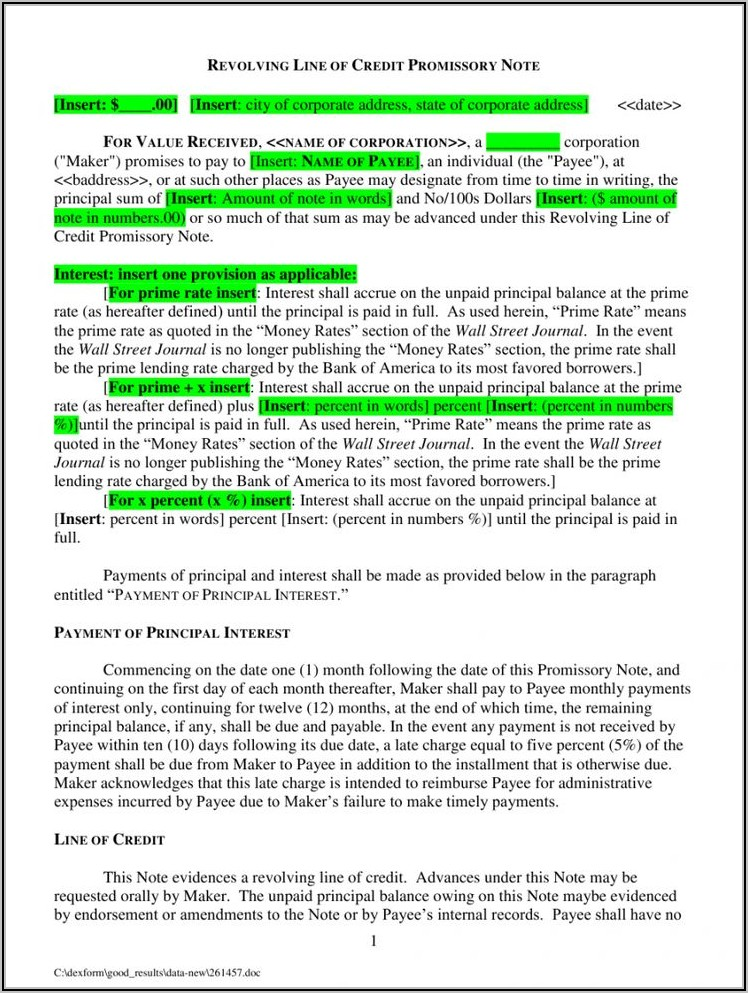 Revolving Line Of Credit Promissory Note Template