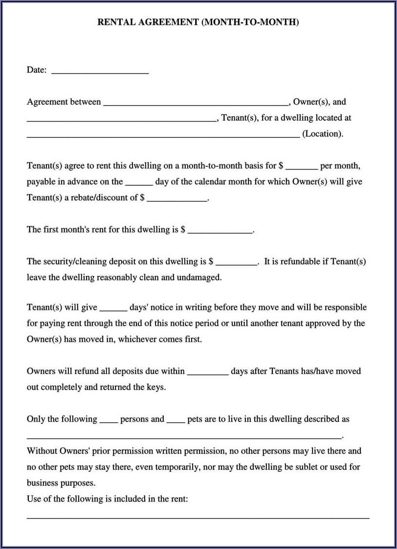 Room Rental Agreement Form Free