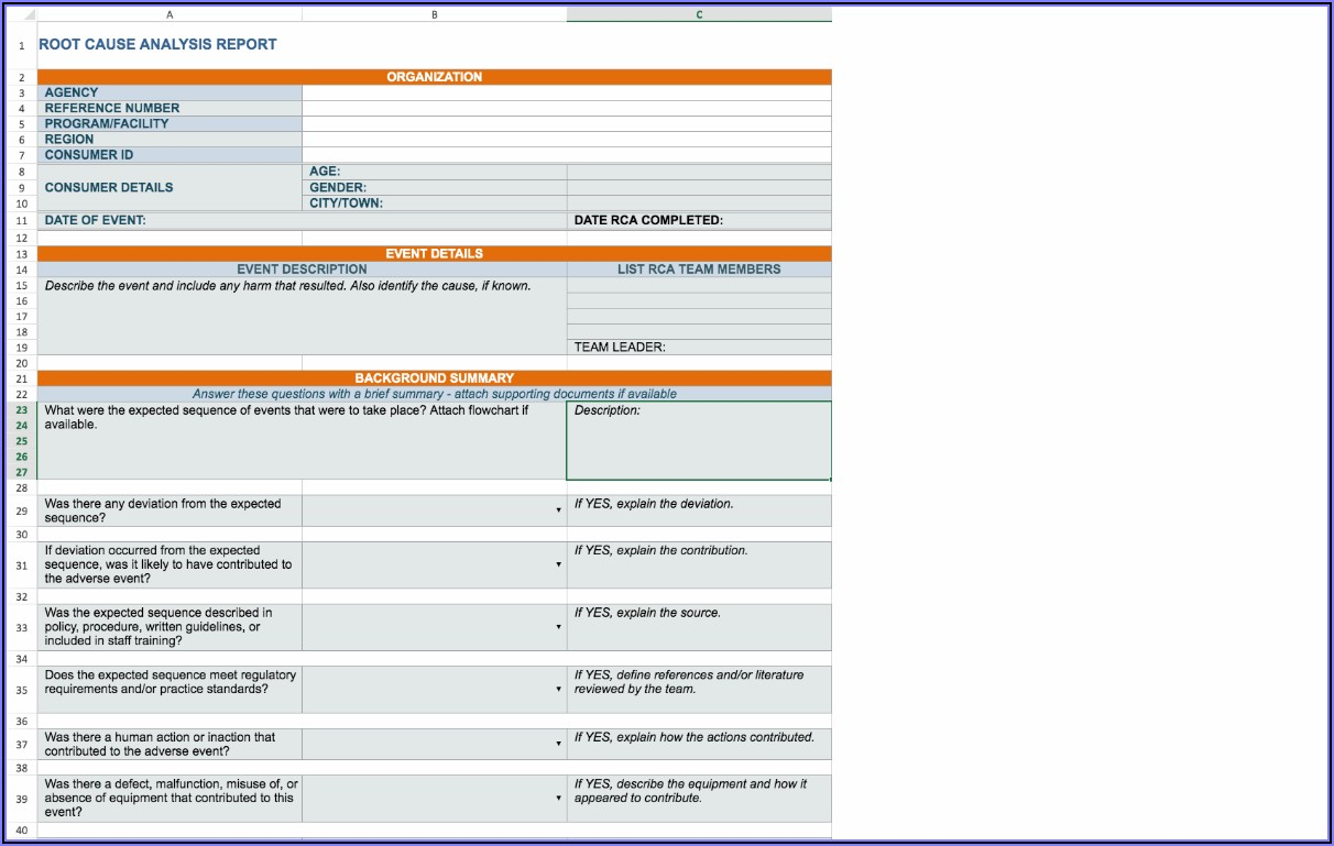 Root Cause Failure Analysis Report Format