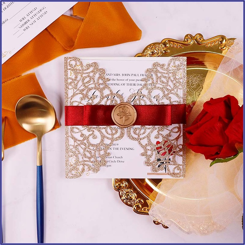 Rose Gold Glitter Laser Cut Wedding Invitations