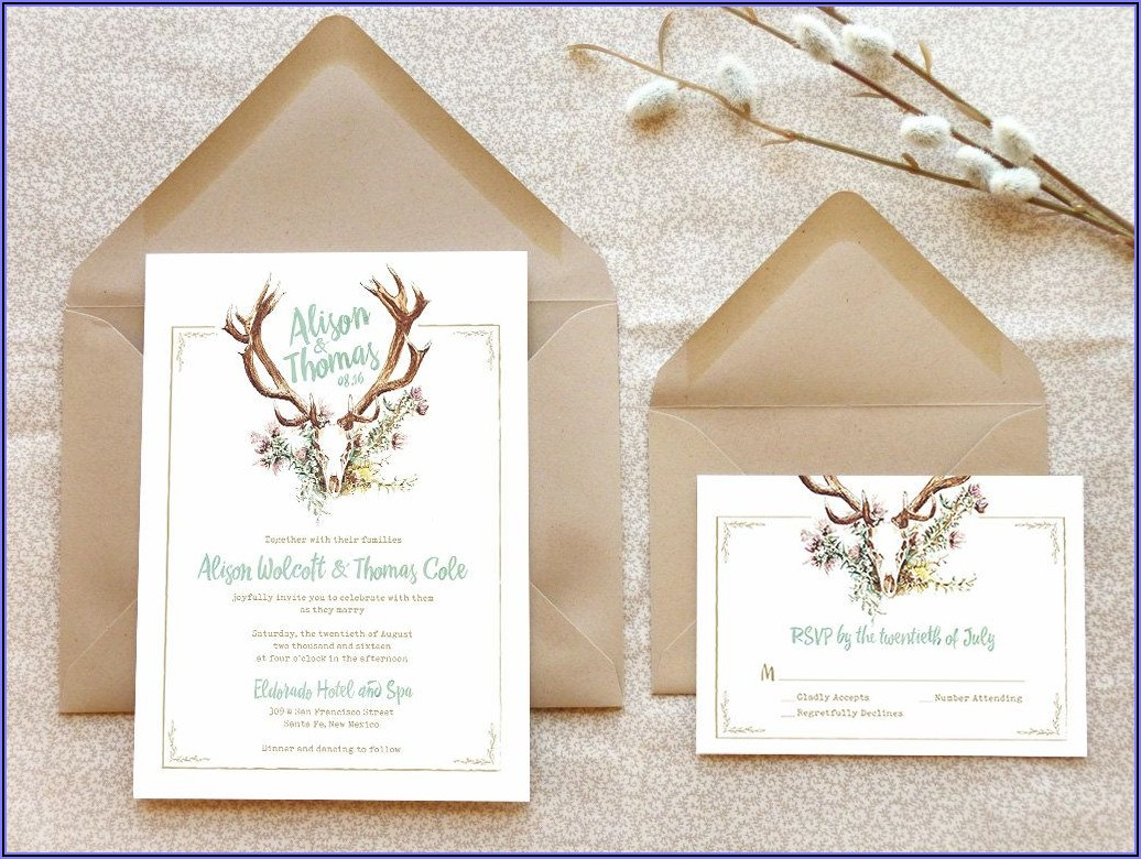 Rustic Deer Antler Wedding Invitations