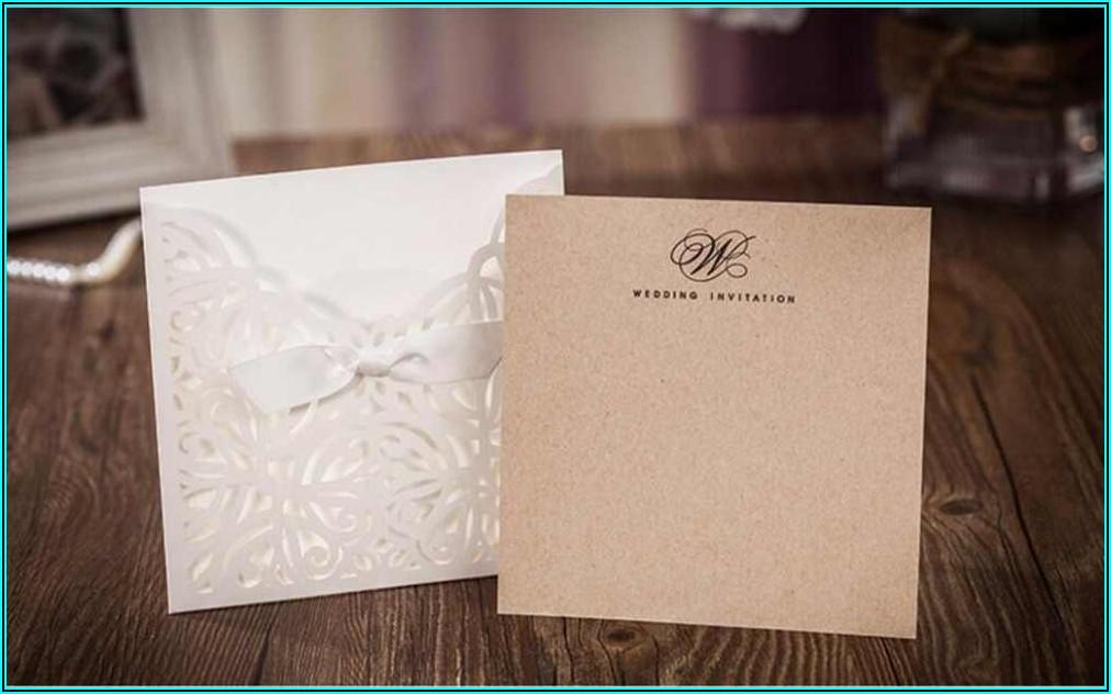 Rustic Laser Cut Pocket Wedding Invitations