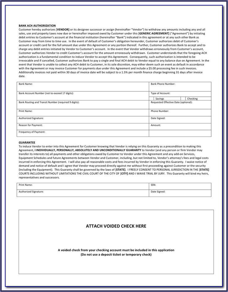 Sample Ach Authorization Form
