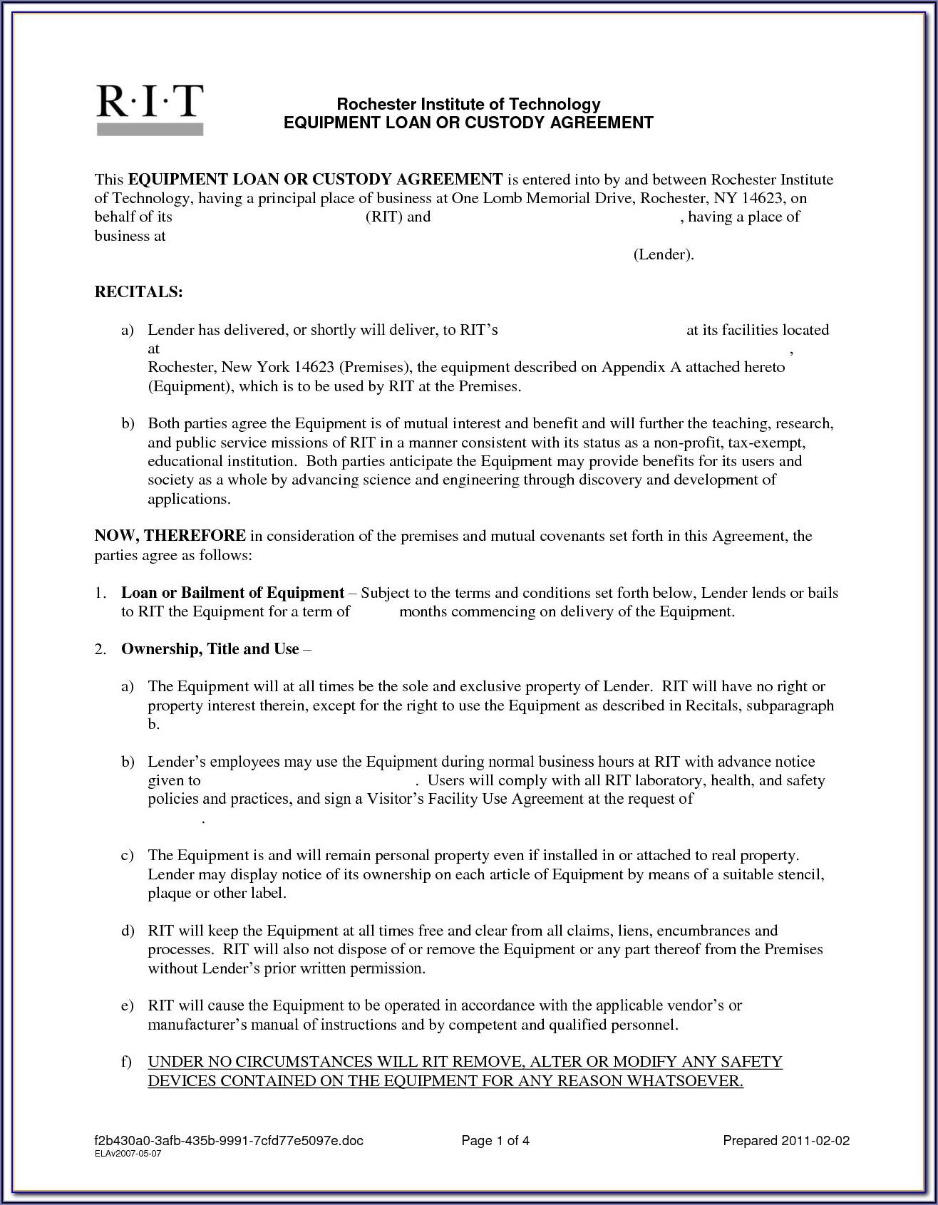 Sample Equipment Loan Agreement Form