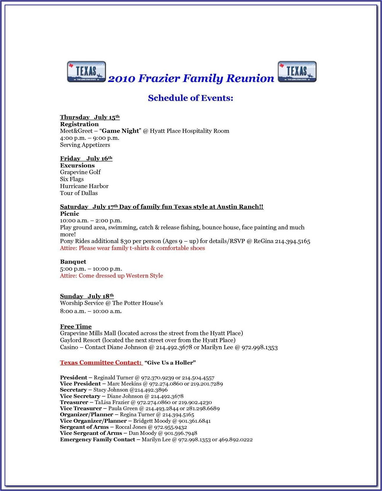 Sample Family Reunion Invitation Letter