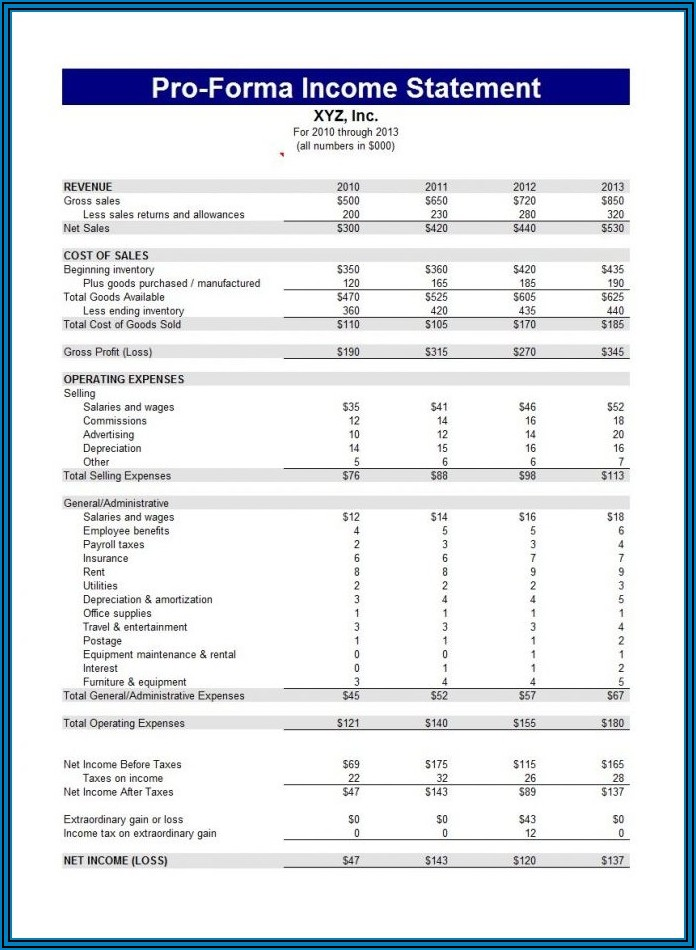 Sample Personal Financial Statement Form