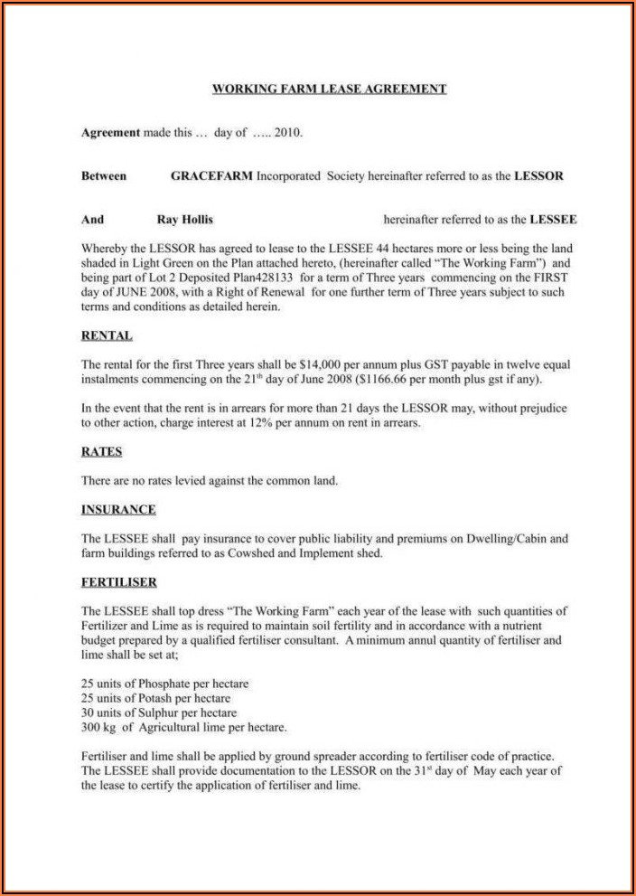 Sample Simple Commercial Lease Agreement