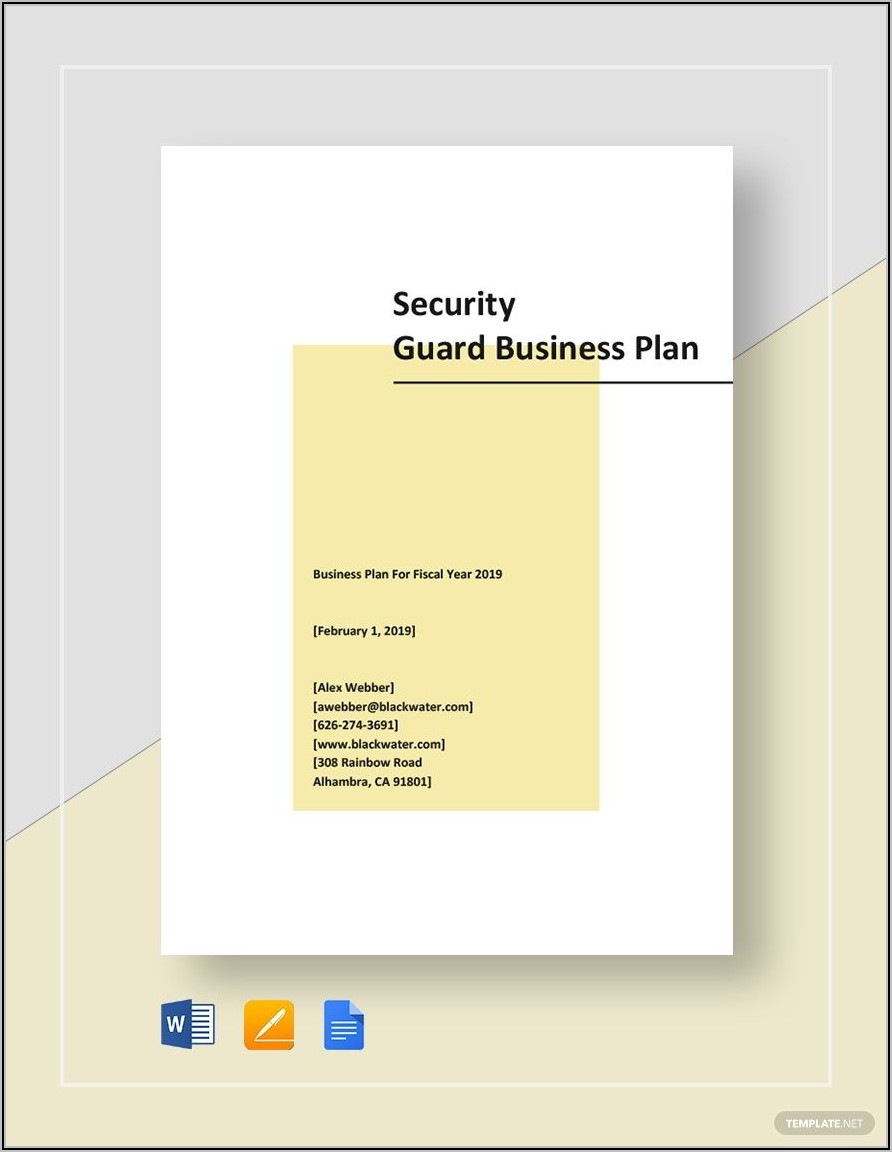 Security Business Plan Template