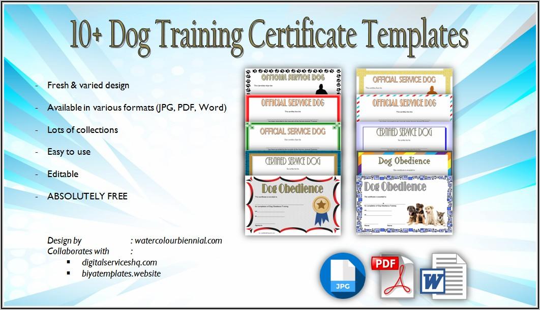 Service Dog Training Certificate Template