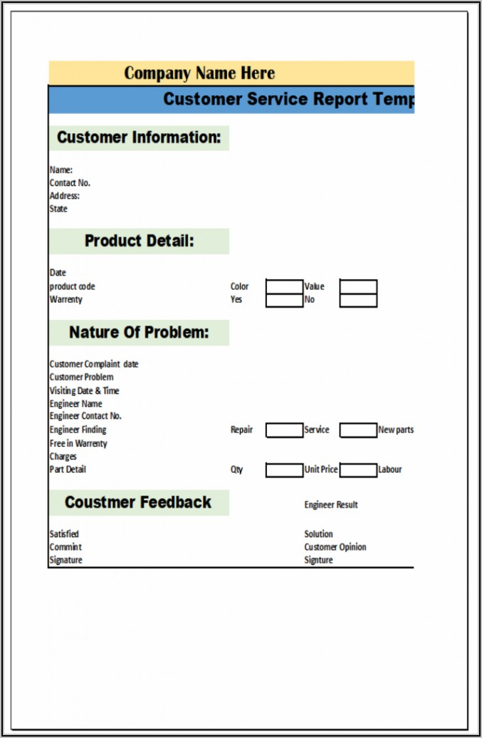 Service Report Template Word