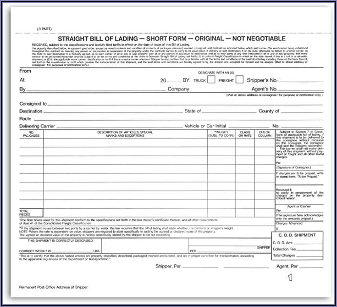 Short Form Straight Bill Of Lading