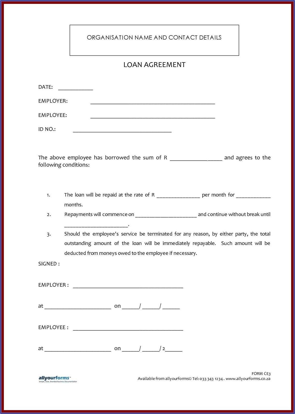 Simple Collateral Loan Agreement Template