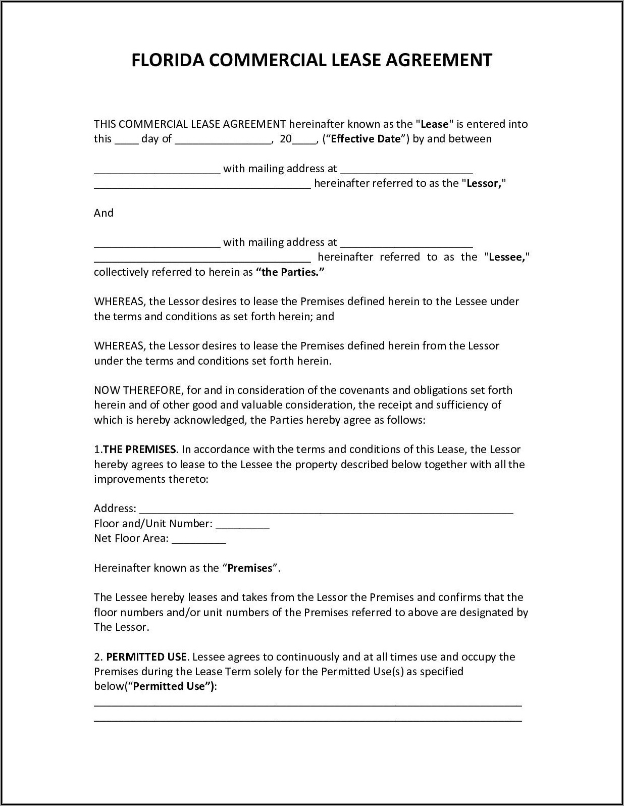 Simple Commercial Lease Agreement Florida