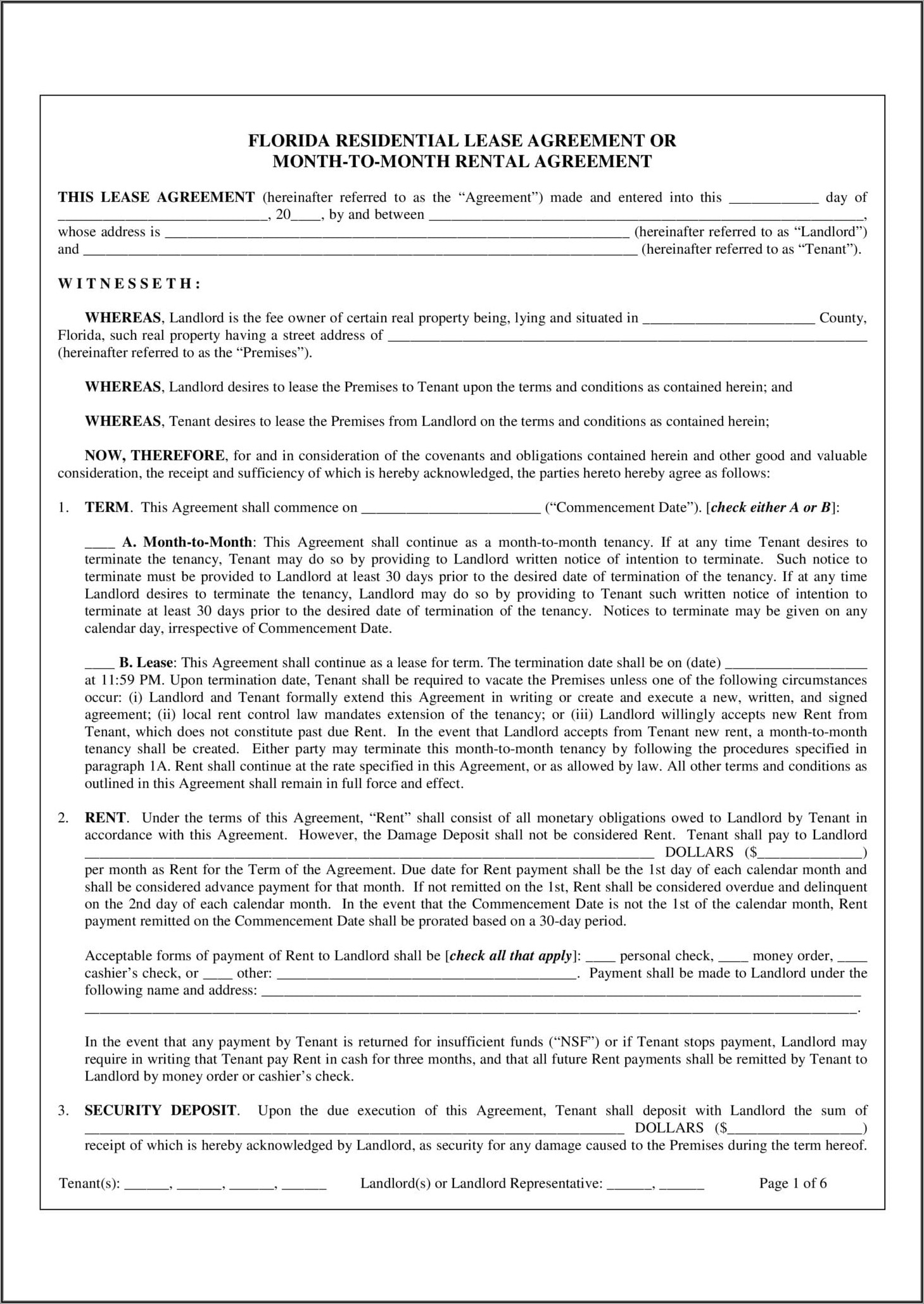 Simple Residential Lease Agreement Template Florida