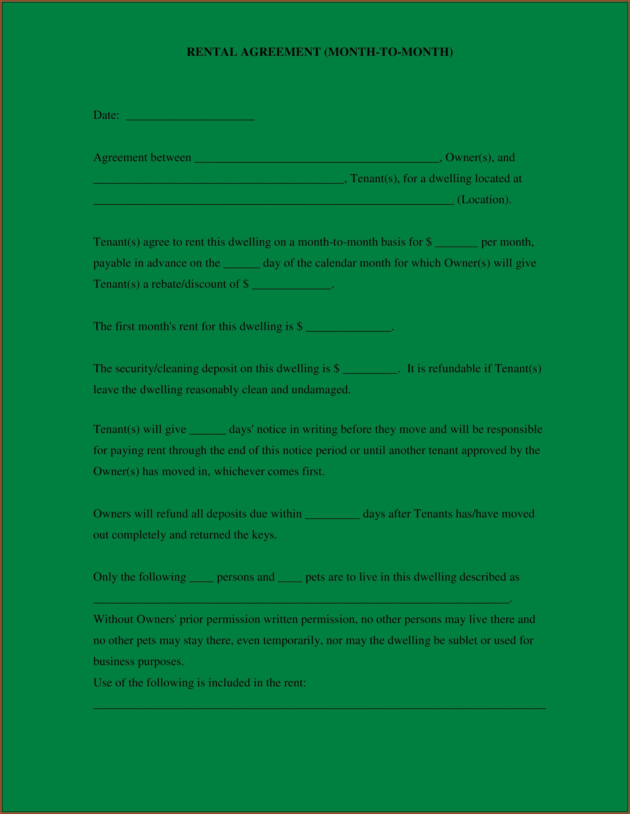Simple Residential Lease Agreement Template South Africa Word