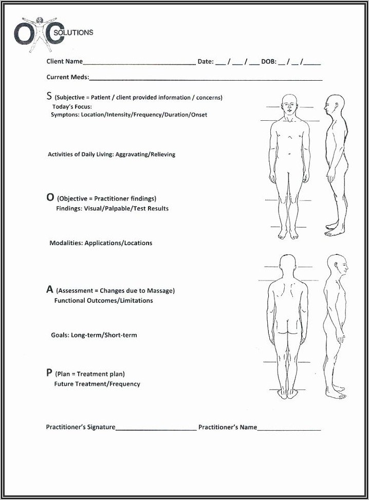 Soap Note Template For Massage Therapist