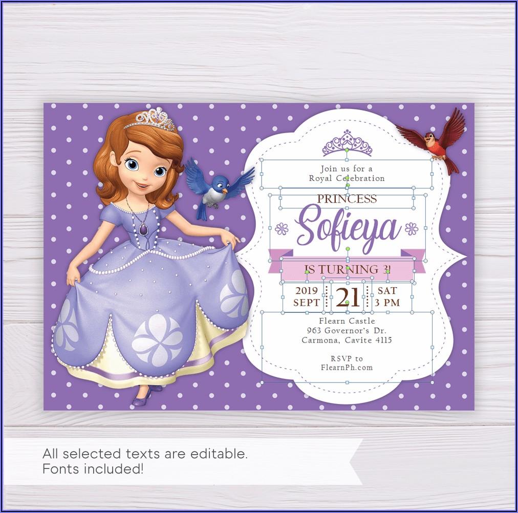 Sofia The First Birthday Invitation Templates Free