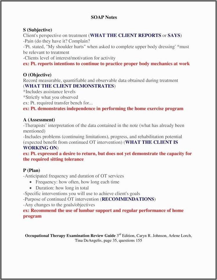 Speech Therapy Soap Note Template