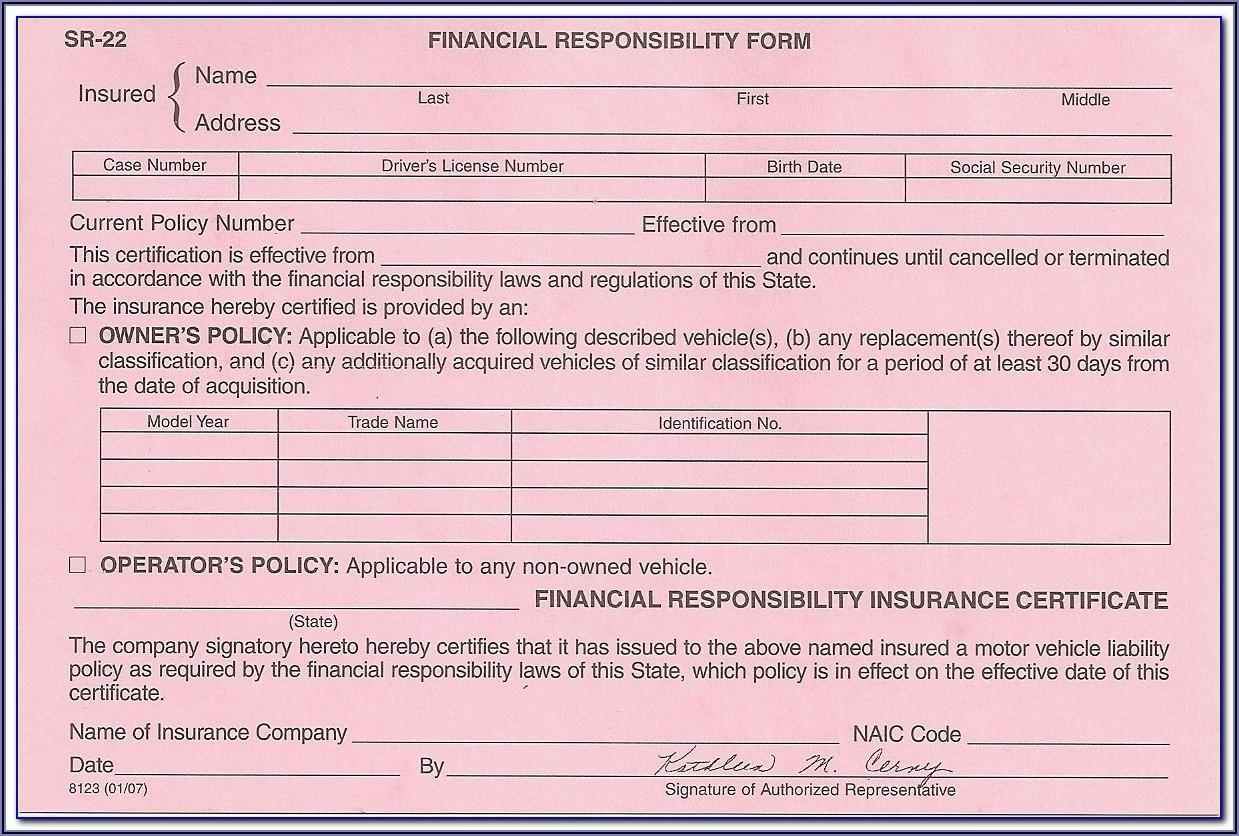 Sr22 Insurance Form Pdf