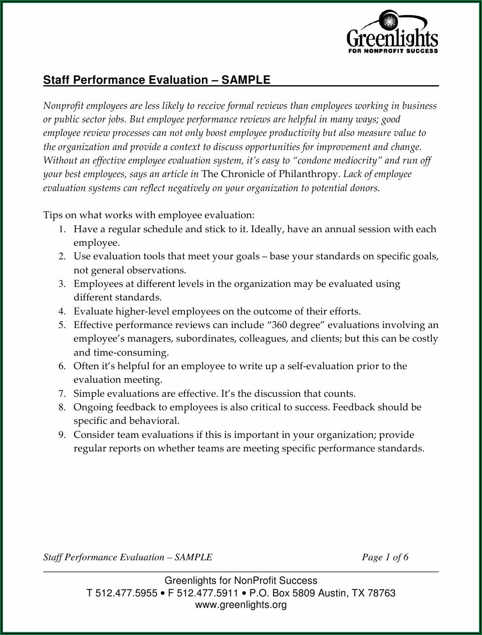 Staff Performance Evaluation Form Pdf