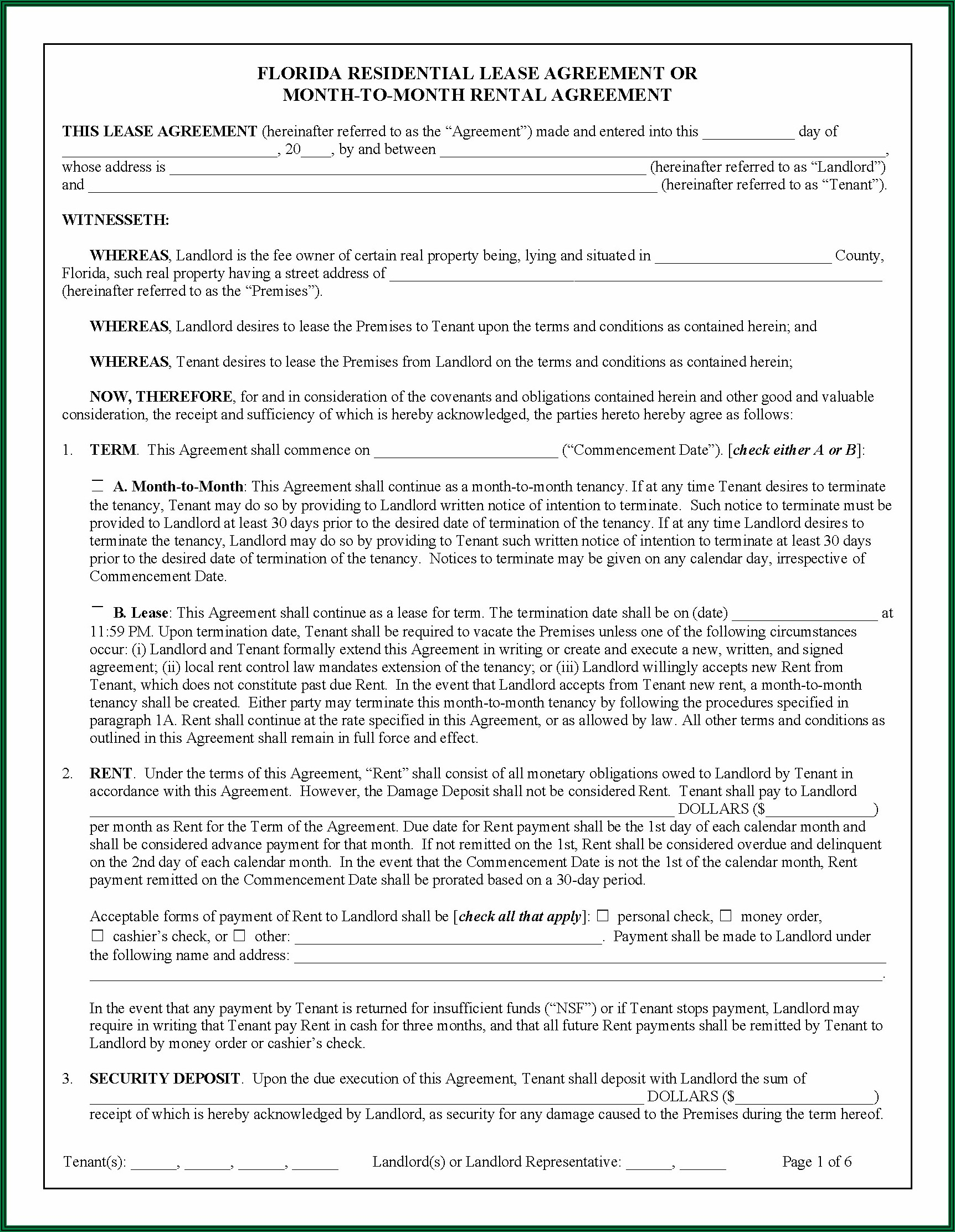 Standard Form Of Apartment Lease Nyc 2019