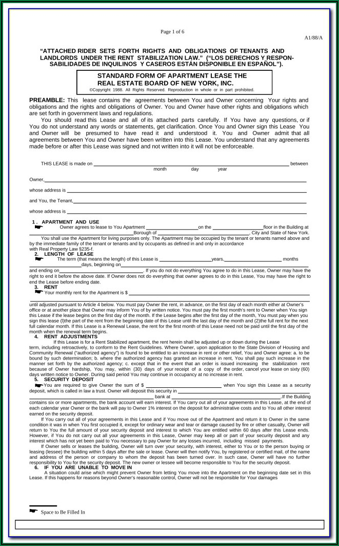 Standard Form Of Apartment Lease Nyc
