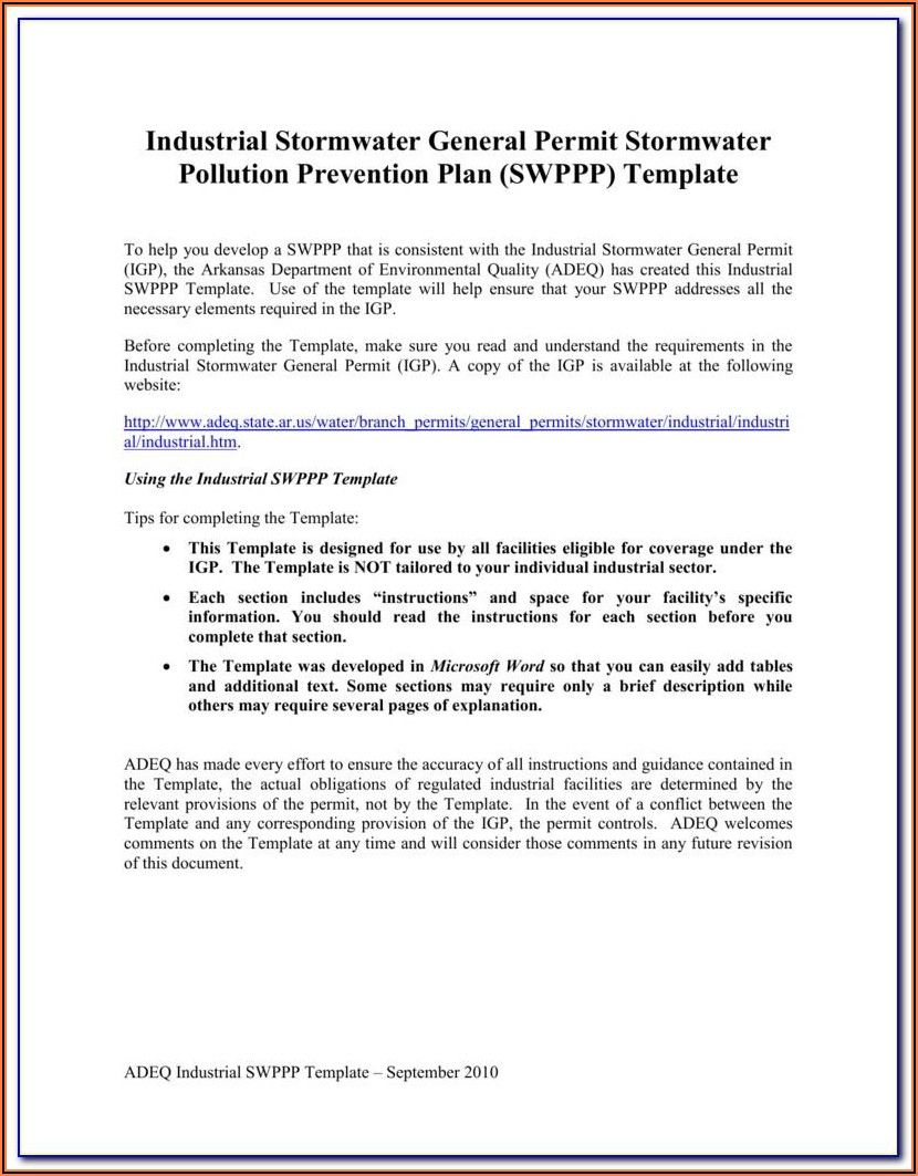 Stormwater Pollution Prevention Plan Inspection Report Form