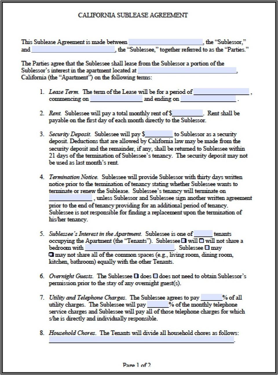 Sublease Agreement Sample Uk