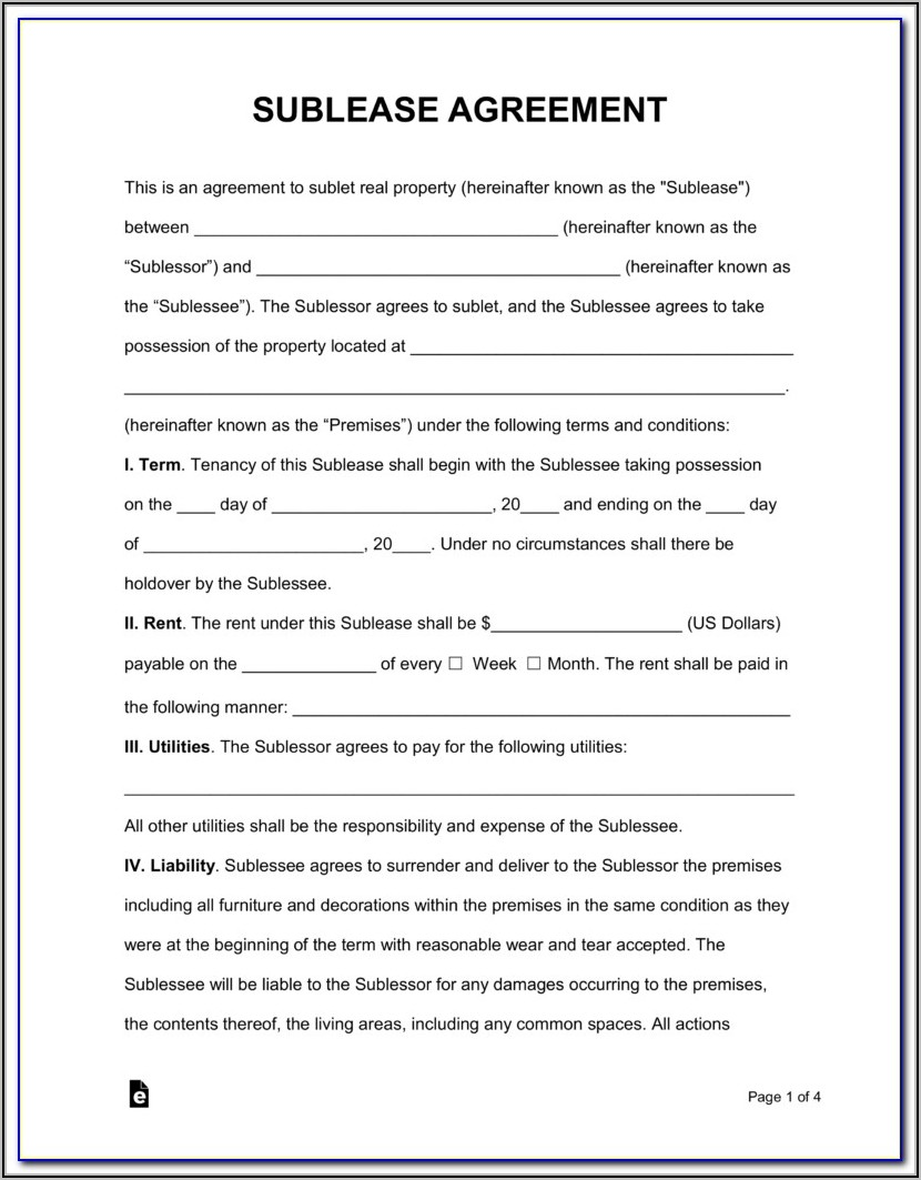 Sublease Agreement Template Uk