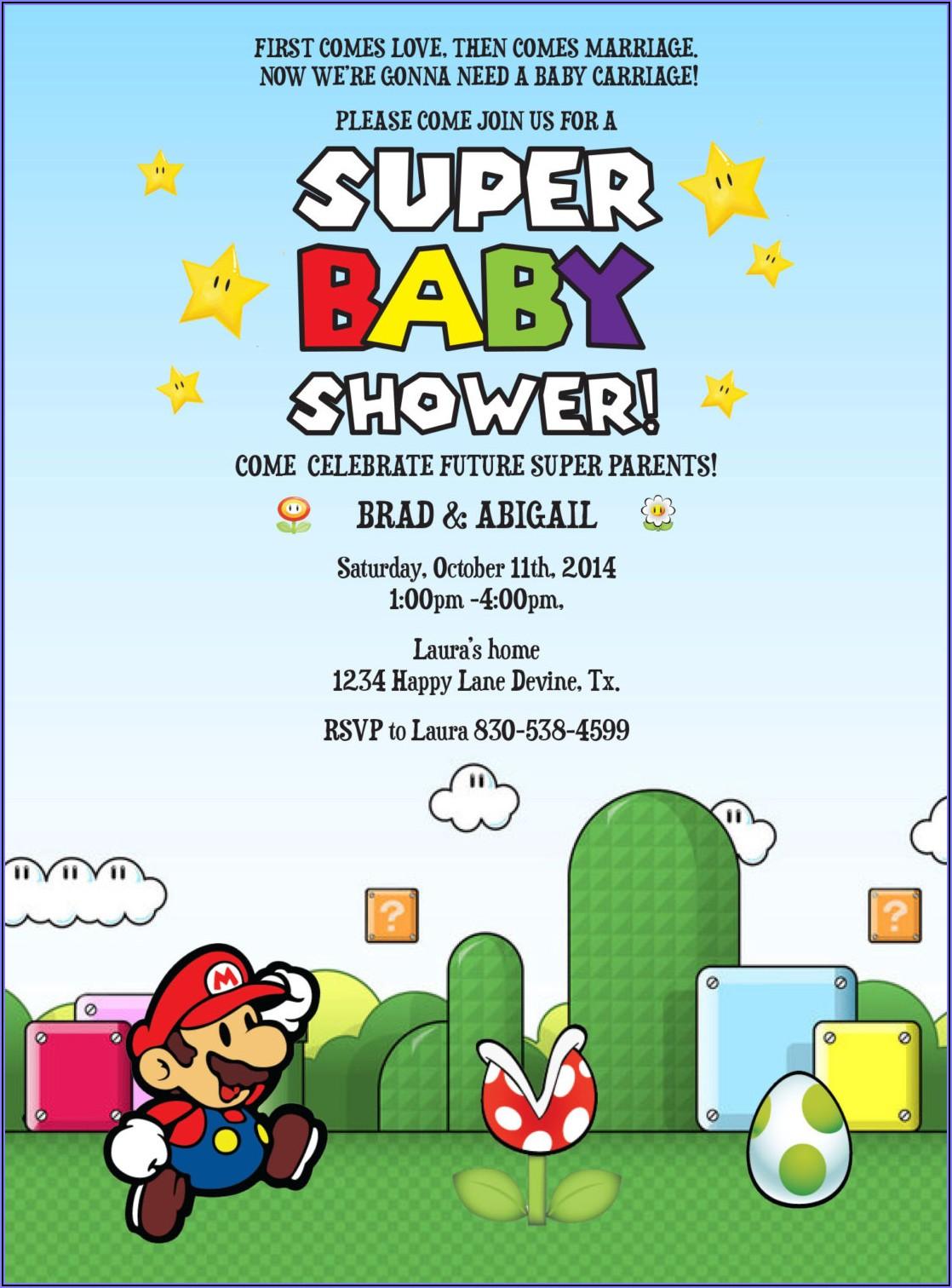 Super Mario Bros Baby Shower Invitations