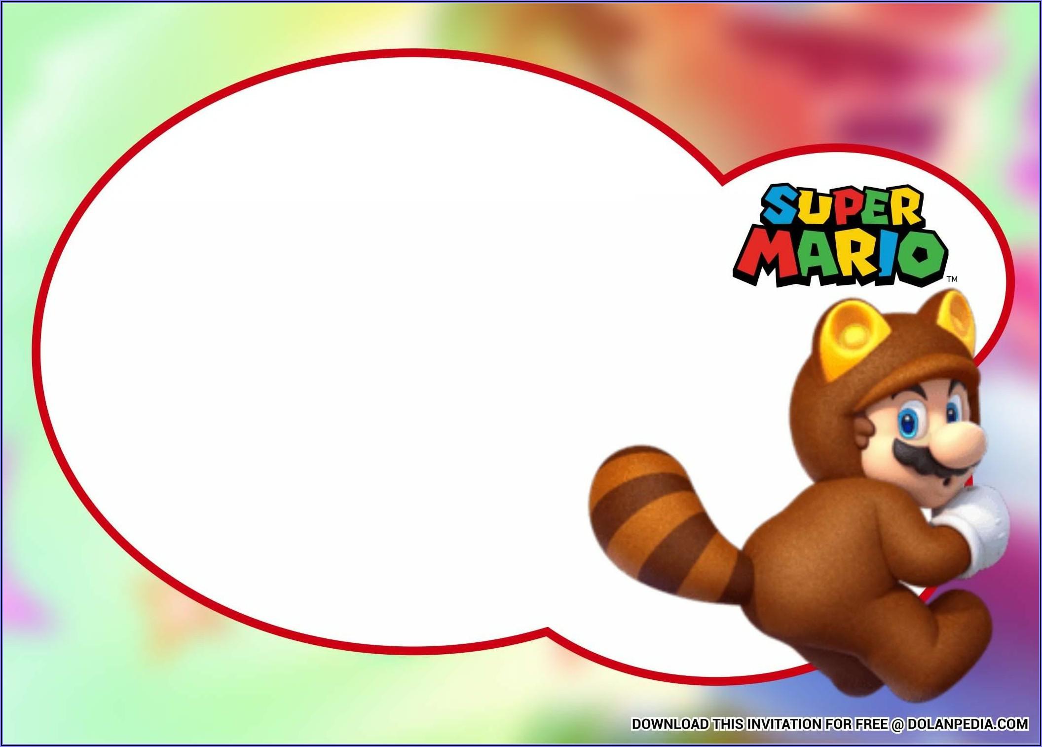 Super Mario Bros Invitation Templates
