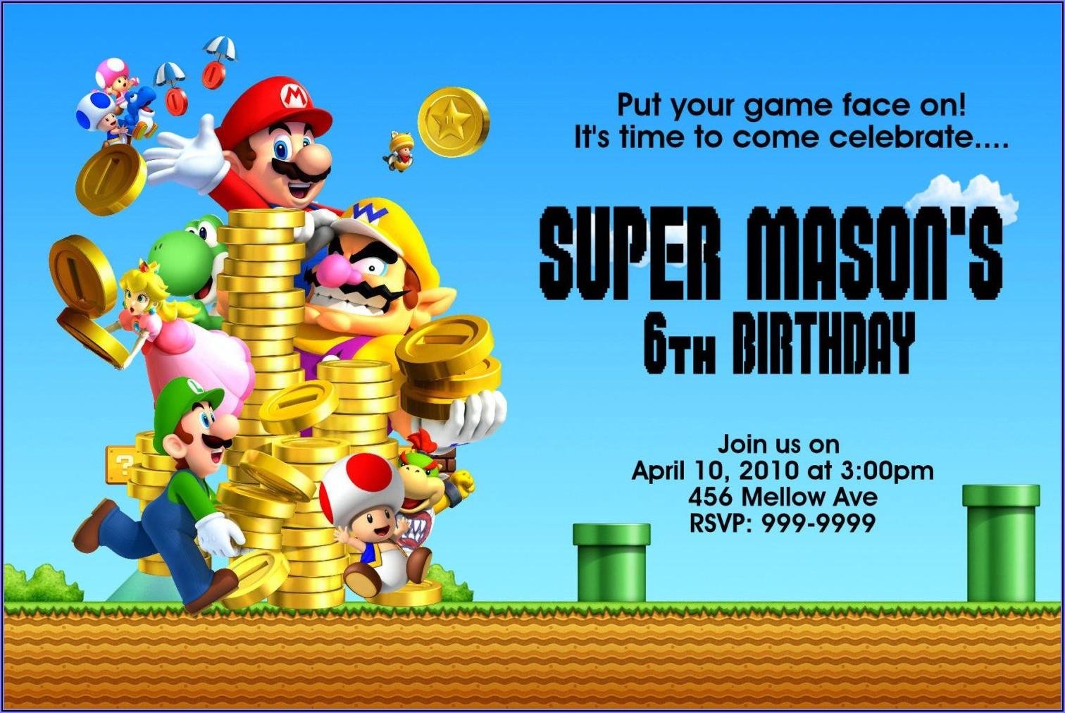 Super Mario Bros Invitations Birthday Party