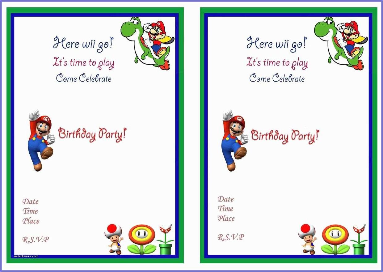 Super Mario Bros Invitations Template