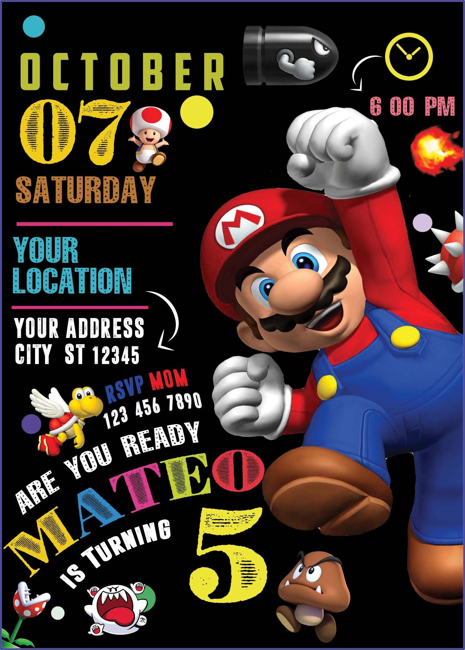 Super Mario Bros Invitations