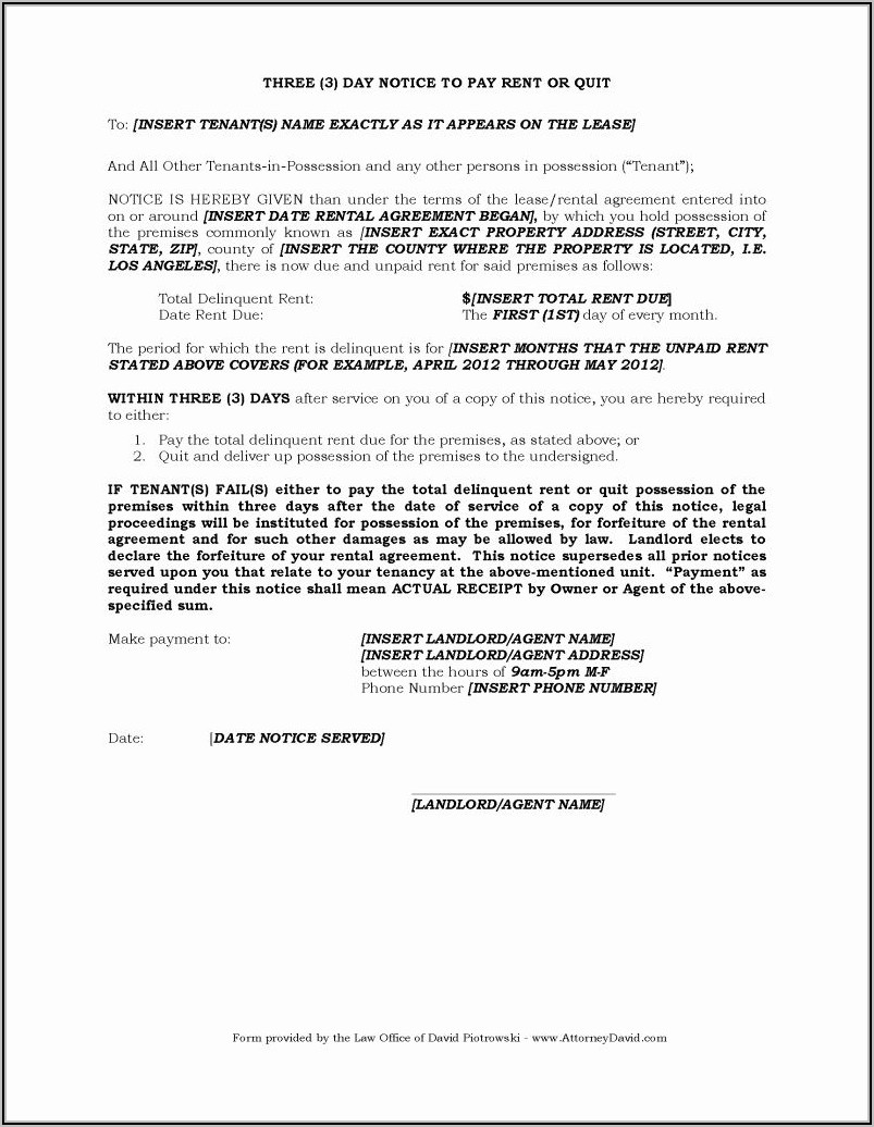 Template For 3 Day Eviction Notice