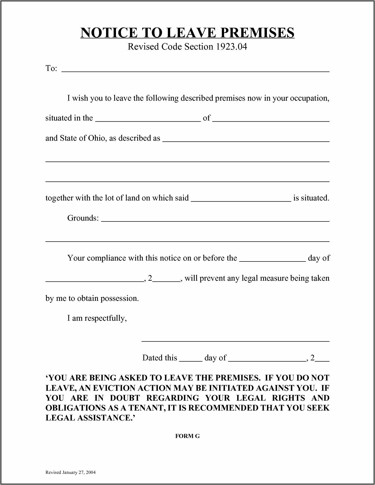 Template For Eviction Notice Free