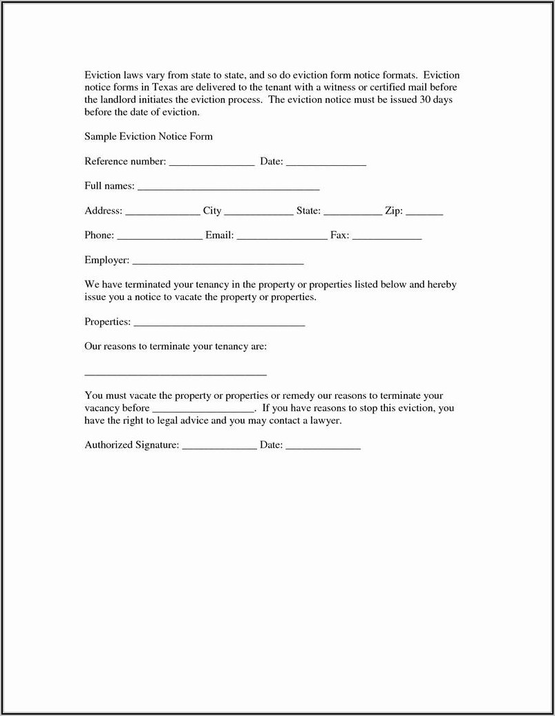Template For Eviction Notice