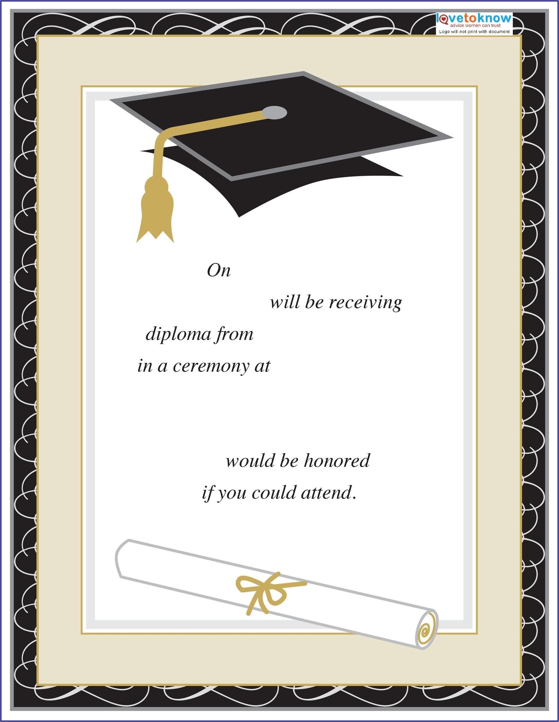 Template For Preschool Graduation Invitation
